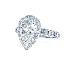 GIA J-VS1 2.61ct Estate Vintage PEAR Shaped Diamond Engagement Wedding Pave Halo Platinum Ring