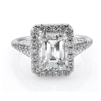 GIA H-VS1 2.71ct Estate EMERALD cut Diamond Solitaire Engagement Pave 18k White Gold Ring