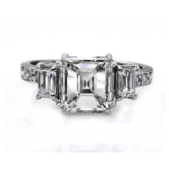 GIA 2.74ct Emerald Cut and Baguette Three Stone Diamond Engagement Wedding Platinum Ring