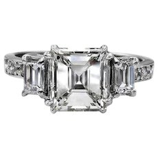 GIA 2.74ct Emerald Cut and Baguette Three Stone Diamond Engagement Wedding Platinum Ring