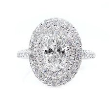 GIA F-VS1 1.86ct OVAL Cut Diamond Engagement Halo 14k White Gold Estate Vintage Ring