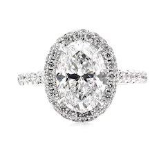 GIA D-VS2 2.74ct OVAL Cut Diamond Engagement Halo 14k White Gold Estate Vintage Ring