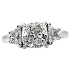 Near Flawless GIA 2.77ct Vintage CUSHION Cut Diamond 3 Stone ENGAGEMENT Wedding Platinum Ring
