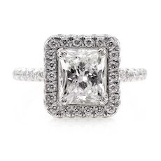 GIA 2.84ct Vintage Radiant Cut Diamond Engagement Wedding Platinum Ring Halo