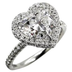 GIA G-VS2 3.0ctw HEART Shaped Diamond Halo Estate Vintage Engagement Platinum Ring