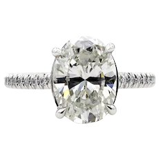 Estate Vintage 3.0ctw OVAL Diamond Solitaire Platinum Engagement Wedding Ring