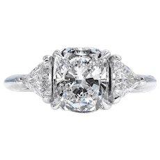 GIA 3.01ct Vintage CUSHION Cut Diamond 3 Stone ENGAGEMENT Wedding Platinum Ring