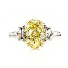 """GIA """"Canary"""" 3.01ct Natural Fancy YELLOW VVS1 Oval 3 Stone Diamond Engagement Platinum Ring"""