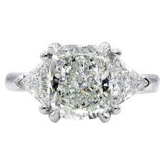 GIA 3.03ct Vintage CUSHION Cut Diamond 3 Stone ENGAGEMENT Wedding Platinum Ring