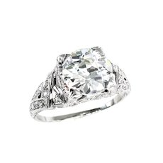 GIA 3.14ct Antique OLD EUROPEAN Diamond Platinum Engagement Wedding Ring