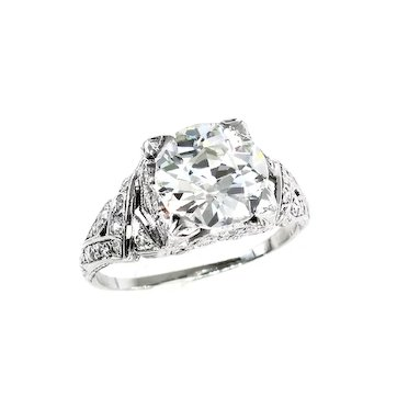 GIA 3.14ct Antique OLD EUROPEAN Diamond Platinum Engagement Wedding Ring