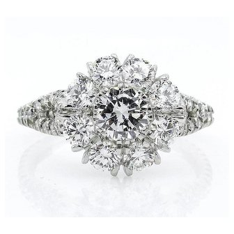 3.20ct Round Diamond Cocktail Cluster Flower Engagement, Wedding, Anniversary Platinum Ring