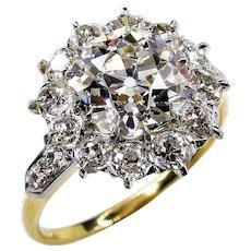 Victorian GIA 3.22ct Old Mine Cushion Diamond Antique Cluster 18k Gold Platinum Ring