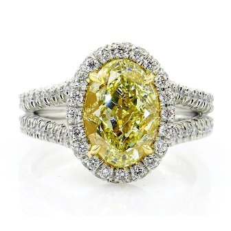 "Estate ""Canary"" GIA 3.24ct Natural Fancy YELLOW VS1 Oval Diamond Wedding Platinum Halo Ring"