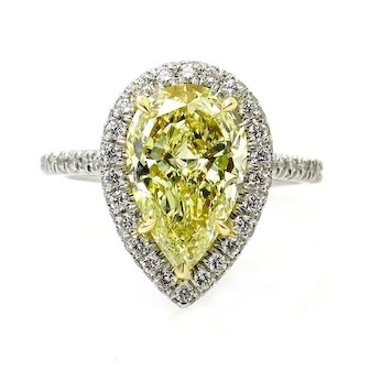 GIA 3.25ct Natural Fancy Yellow PEAR Diamond Solitaire Engagement Platinum 18K YG Estate Vintage Ring