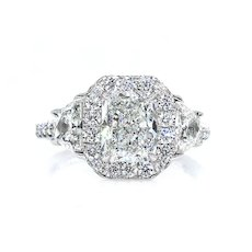 GIA G-VS2 3.33ctw RADIANT Cut Diamond Engagement 3 Stone Halo Platinum Estate Ring