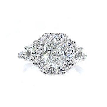 GIA G-VS2 3.33ctw RADIANT Cut Diamond Engagement 3 Stone Halo Platinum Estate Ring