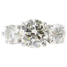 3.38ct Estate Vintage Round Diamond 3 Stone Engagement Wedding 18k WG Ring