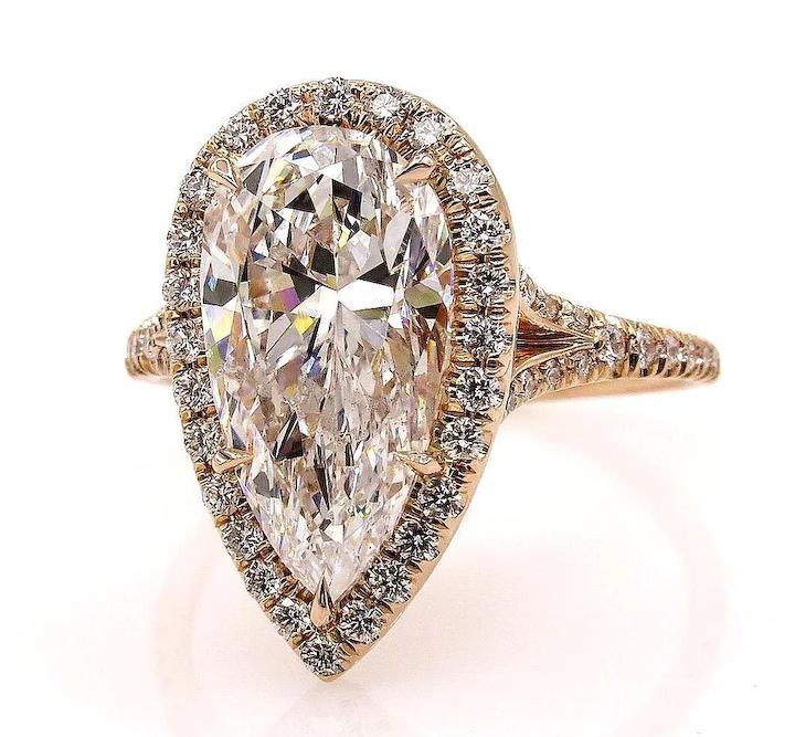 Colorless GIA 3.61ct Vintage PEAR Shaped Diamond Engagement Halo Rose Gold  Ring
