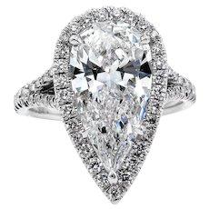 Colorless GIA 3.64ct Estate Vintage PEAR Shaped Diamond Engagement Wedding Pave Halo Platinum Ring