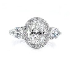 GIA H-SI1 3.67ct OVAL Cut Diamond Engagement 3 Stone Halo Platinum Estate Vintage Ring