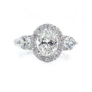 GIA H-SI1 3.67ct OVAL Cut Diamond Engagement 3 Stone Halo Platinum Estate Vintage Ring