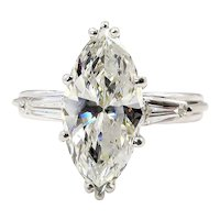 1930..Vintage 3.68ct Classic Marquise Diamond Three Stone Engagement Wedding Platinum Ring