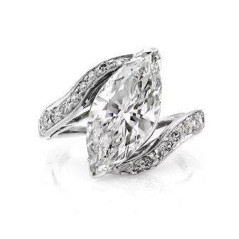 3.70ct Marquise Diamond Engagement Wedding Anniversary Platinum Vintage Ring