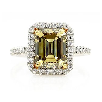 GIA 3.72ct Estate Natural Fancy Yellow Emerald Cut Diamond Solitaire Engagement Platinum Pave Ring