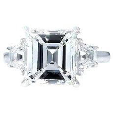 GIA 3.78ct Emerald Cut Diamond 3 Stone Engagement Wedding Platinum Ring