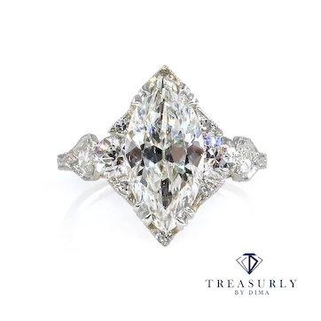 Art Deco GIA 3.78ct Old Marquise Cut Diamond Engagement Platinum Ring