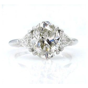 Classic 3.89ct Vintage Estate Natural OVAL Diamond Engagement Wedding 3 Stone Platinum Ring