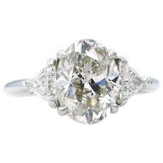 Classic 3.89ct Vintage Estate Natural OVAL Diamond Engagement Wedding 3 Stone Platinum Ring