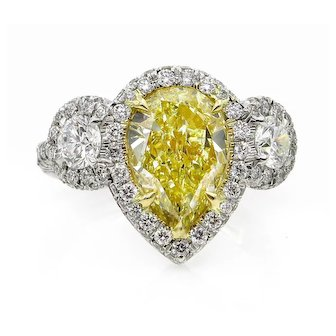 Spectacular 4.10ctw Natural Fancy YELLOW PEAR Shaped Diamond Diamond 3 Stone Halo Pave Platinum RING
