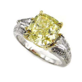 Estate Vintage GIA 4.31ct Natural Fancy Yellow Cushion 3 Stone Diamond Engagement Anniversary 18k WG Ring