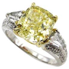 Estate Vintage GIA 4.31ct Natural Fancy Yellow Cushion 3 Stone Diamond Engagement Anniversary 18k WG Ring