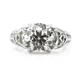Estate Vintage 4.31ct Round 3 Stone Diamond Engagement Anniversary Platinum Ring