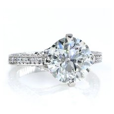 4.36ct Estate Round Brilliant Cut Diamond Solitaire Engagement Wedding Platinum Ring
