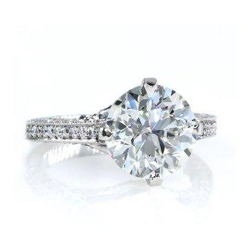 4.36ct Estate Round Brilliant Cut Diamond Solitaire Engagement Wedding Platinum Ring