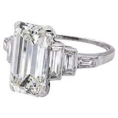 Impressive Art Deco GIA 4.37ct Emerald Cut Diamond Vintage Engagement Wedding Platinum Ring