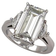Impressive 4.43ct Emerald Cut Diamond 3 Stone Engagement Wedding Platinum Ring, EGL USA