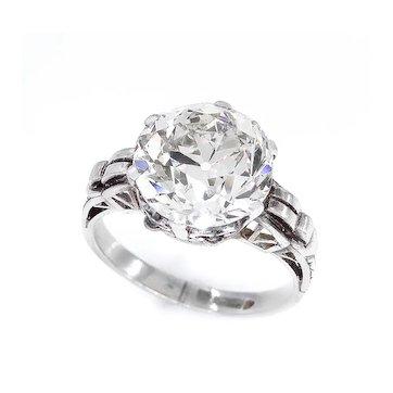 GIA Art Nouveau 1900s 4.57ct OLD Mine Diamond Engagement Antique Vintage Ring