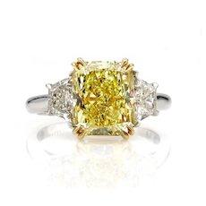 Estate GIA 4.64ct Natural Fancy Yellow VS2 CUSHION 3 Stone Diamond Engagement Platinum 18K YG Ring