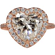 Huge GIA 4.74ct HEART Shaped Diamond Engagement Wedding Rose Gold Ring