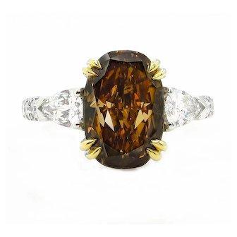 Rare GIA 4.85ctw Natural Fancy Deep Brown ORANGE OVAL Cut Diamond Three Stone Platinum 18K Ring