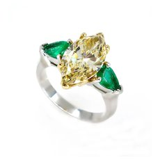 "Estate ""Canary"" 4.86ctw Natural Fancy YELLOW Marquise Diamond and Green Emerald Trilogy Pl/18k Ring"