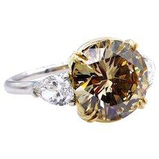 "GIA 5.00ctw Natural Fancy Brown Yellow ""Cognac"" ROUND Diamond Platinum 18K Ring"