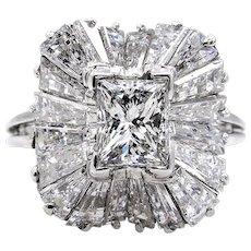 Super Fine..GIA Vintage 5.01ct Princess Cut Diamond BALLERINA Platinum Ring