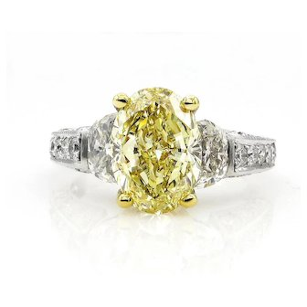 "Estate ""Canary"" GIA 5.03ct Natural Fancy Yellow OVAL 3 Stone Diamond Engagement Platinum Ring"