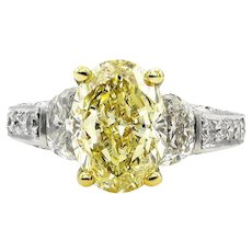 """Estate """"Canary"""" GIA 5.03ct Natural Fancy Yellow OVAL 3 Stone Diamond Engagement Platinum Ring"""